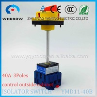 Isolator switch with YMD11-40B with padlock aluminum pole 40A 3 poles Load break power cut off operate outside cabinet