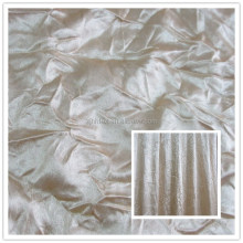 Cheap polyester crushed white satin fabric for curtain from shaoxing textile market
