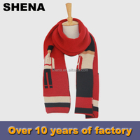 shena cheap modern knitted football scarf