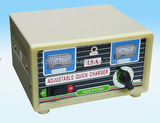 6V 12V 15A adjustable quick battery charger for sealed lead acid battery,4ah to 60ah battery