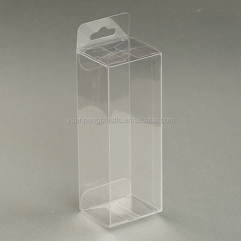 Custom clear cosmetic folding packaging box with hang hole,clear PVC/PET plastic folding packaging box for cosmetics