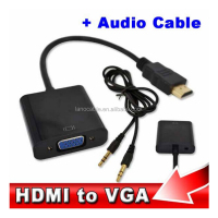 1080p audio mini vga female to golden plated 19pin hdmi adapter