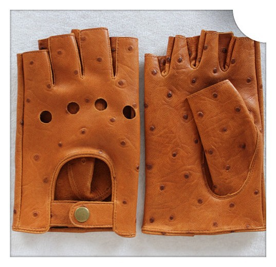 Fingerless mens leather gloves