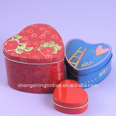 Beautiful jewelry tin can heart shape gift tin boxes