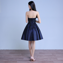 WD009 China Supplier Bule Strapless Short Party Dress Stain Ladies Gown