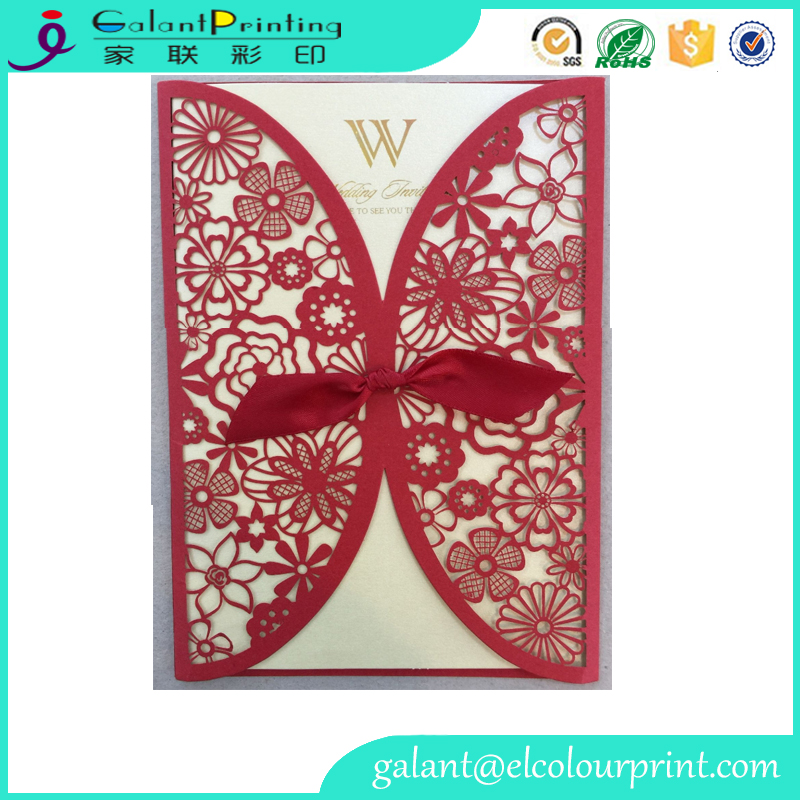 Red Laser Cut Flora & Lace Wedding Invitations Kit Matched With RSVP & Thank You Card
