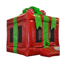 pvc tarpaulin christmas gift box inflatable jumper bouncer/ moon walker for party