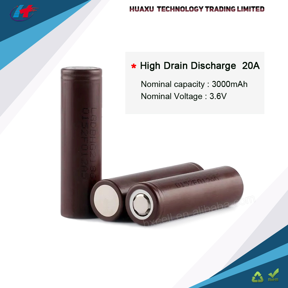 2016 New Arrival Rechargeable Batteries, Lithium Battery 3000mah Lg Hg2 For Rechargeable Spotlight