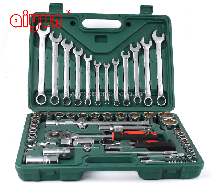 "61pcs socket <strong>set</strong> (1/2"" & 1/4""), ratchet wrench CRV repair tools"