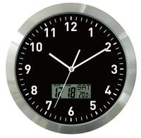 12inch Aluminum Wall Clock With Digital Readout for Month, Date, Day and Room Temperature