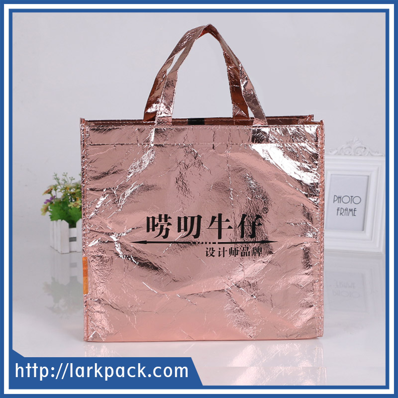 Promotional custom logo fashion reusable laser film laminated non woven tote bag for shopping