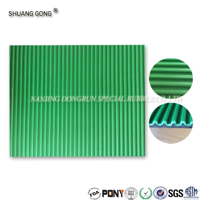 High quality compounded Flat ribbed anti-slip corrugated/stripe pattern surface rubber sheets/mats/rolls/flooring