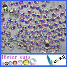 2016 New 2088 8big 8small 16 Star cuts SS20 Crystal ab Nailart Non Hotfix Flatback Glass Rhinestones