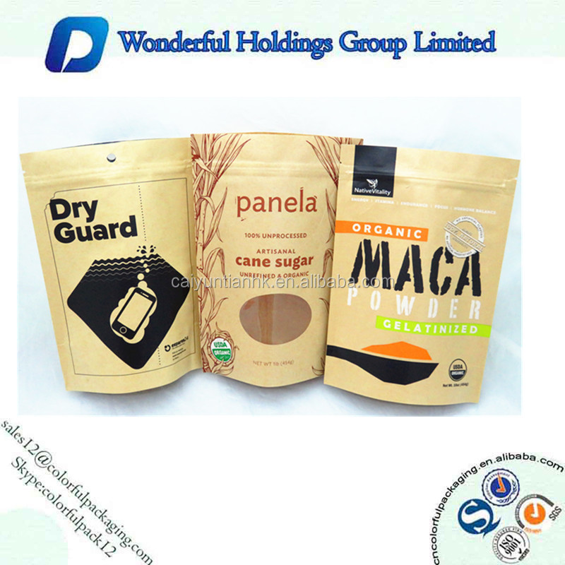 500g pouch kraft printed /Stand up food grade kraft bag / food paper packaging pouches with ziplock
