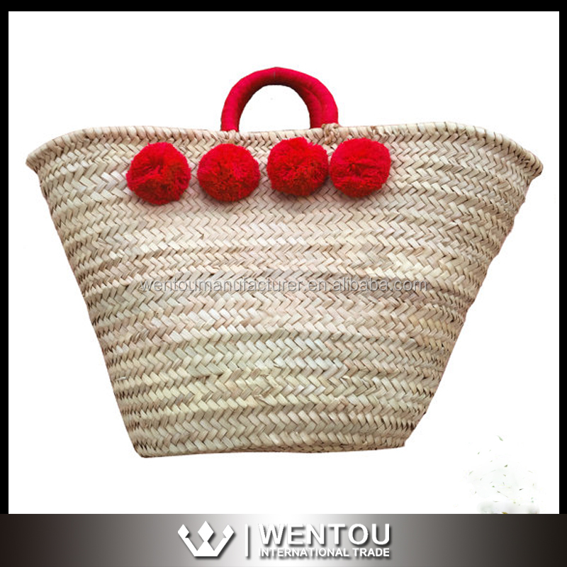 Wholesale Boho Jane Style Straw Tote Bag Moroccan Shopping Straw Basket Beach Pom Pom straw Tote Bag