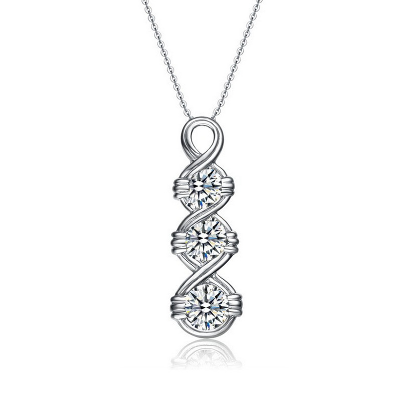 New Arrival cubic zircon plating Rhodium 14k gold necklace