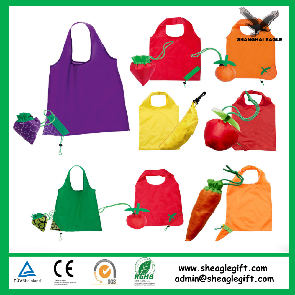 190T/210D polyester folding shopping tote bag