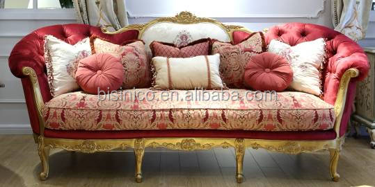 French Royal Red Fabric Sofa Set In Living Room/ Vintage Golden Frame 3 Seats Sofa/ European High Quality Living Room Furniture
