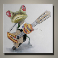 Wholesale Modern Animal Lovely Frog With Guitar Oil Painting