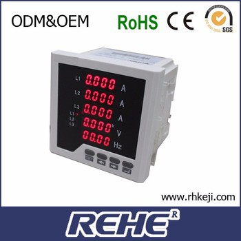 RH-3UIF35 Five rows led display digital three phase ac A V HZ munlti-function monitoring meter
