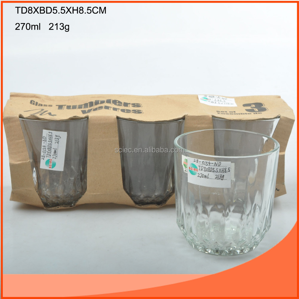 270ml set 3pcs water glasses for daily using