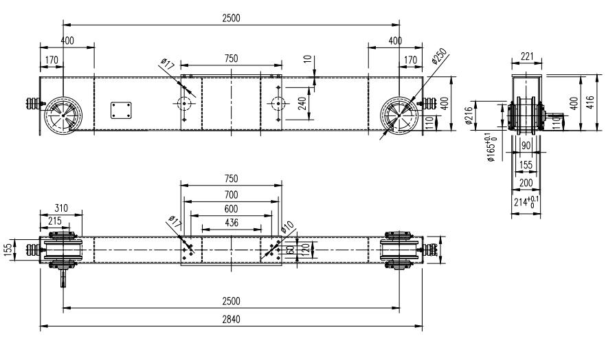 High quality double girder/beam crane end carriage overhead crane