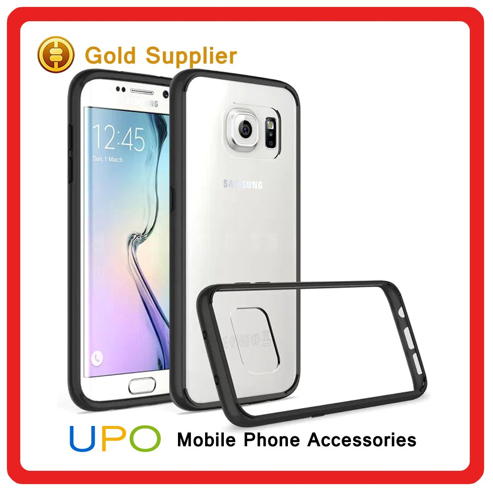 [UPO] 2016 Wholesale Colorful Crystal Clear Soft Tpu Hard PC Plastic Back Cover Case for Samsung Galaxy S7 edge