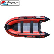 Weihai FREESUN red color RY-B300 dinghy inflatable pvc boat with aluminum floor