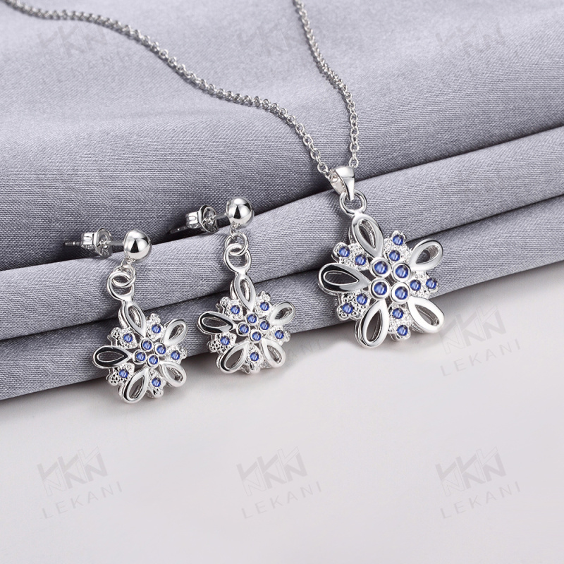 China Wholesale fashion 925 silver plated beatiful bridal Jewelry set for free shipping