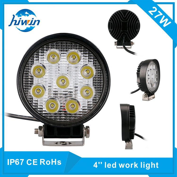 "4.5"" 27w round led work lamp 12v 24v IP67 CE Rohs certified led car working light bars for tractor"