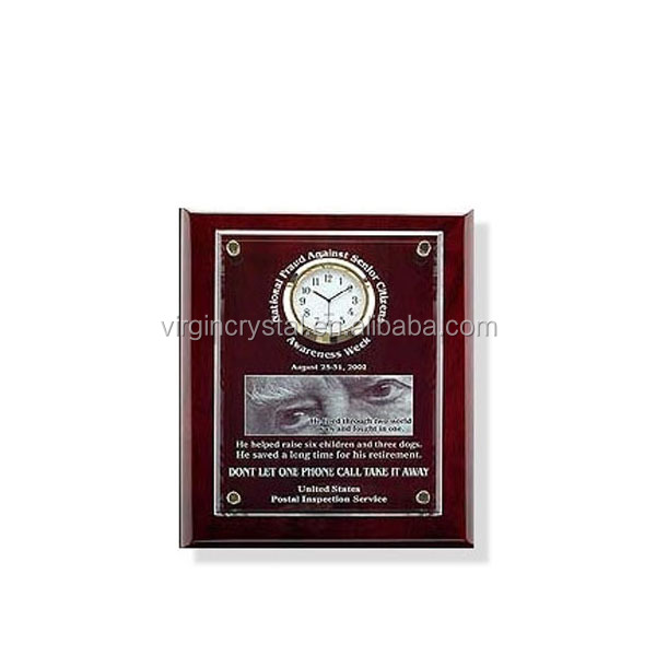 Wholesale Blank Wooden Wall awards trophy Plaque with Engraved Crystal Cover and Clock for office decoration