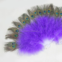 Dancing Costumes Purple 21 folding staves peacock feather fans handmade Stage Performance Fan for Ladies Dancer