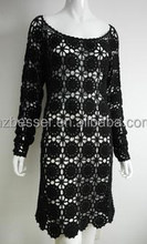 women long sleeve hollow out women evening wear hand crochet dress