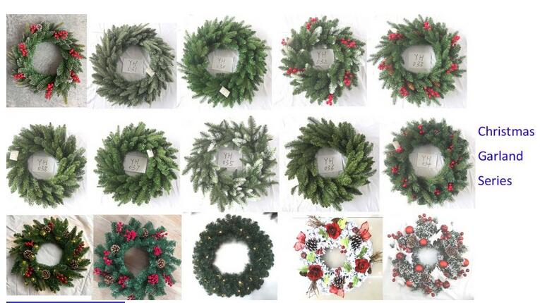 Pre lit pe pvc mixed led christmas wreath with lights