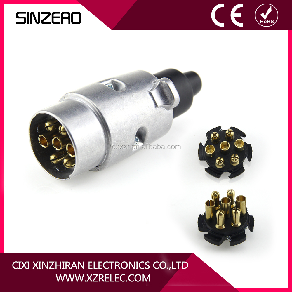 High quality brass connectors 7 Pin anodized aluminium trailer plugs
