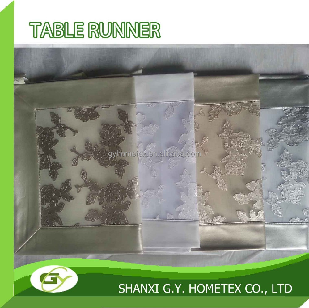 silver faux leather embroidery dining table runner