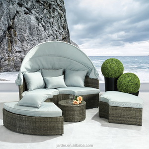 wholesale retailer 4pcs outdoor garden leisure steel rattan round sofa set