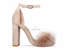 Nude Suede Block Heel Faux Fur Heels Shoes Made In China High Heels