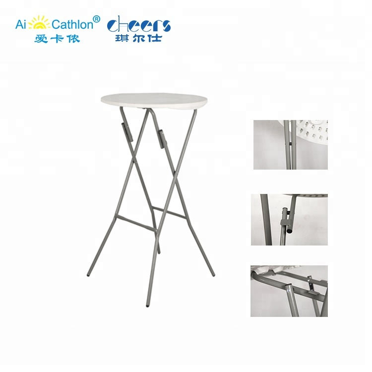 New Product Modern 60CM Dia Plastic High Bar Top Foldable Round Party Tables Folding Cocktail Table