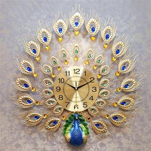 Modern 3D Luxury Metal Diamond Decorative Peacock Wall Clock for Wall Decor