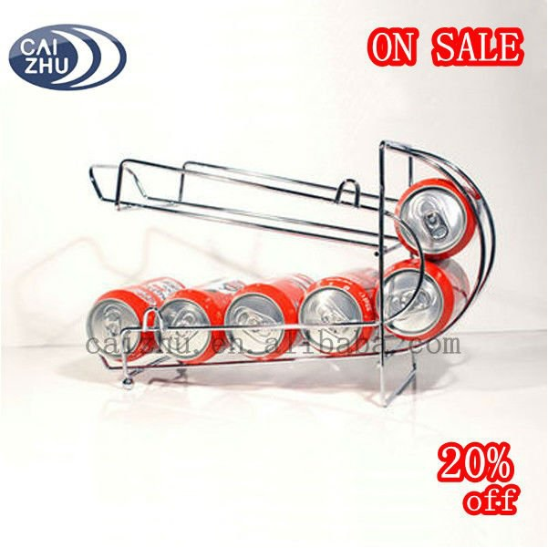 Chrome Steel Iron Wire Beer Cola Beverage Cans Dispenser Rack
