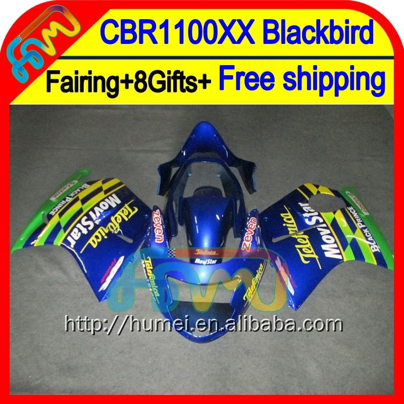 8Gifts+ For HONDA CBR1100XX 96-07 CBR1100 XX 75HM Movistar Blue CBR 1100XX 96 97 98 99 00 01 02 03 04 05 06 07 1100 XX Fairing