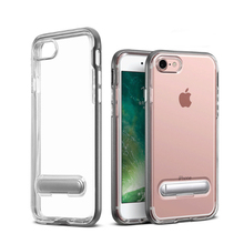 Transparent case bumper for iphone 7 8Plus case bumper cover soft silicone Hard frame with bracket stand holder shockproof shell
