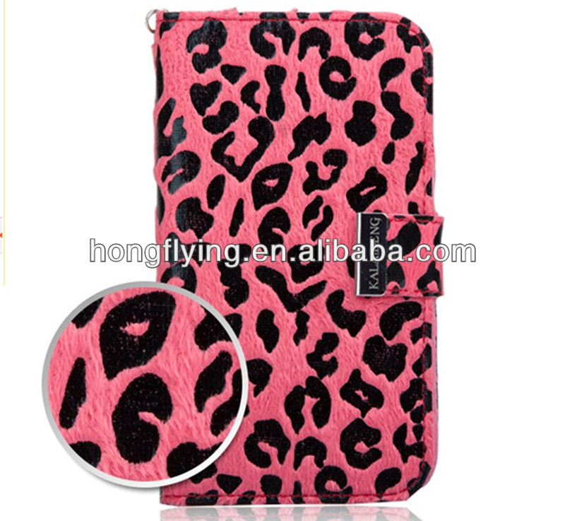 Leopard print leather case cover for samsung galaxy note N7100