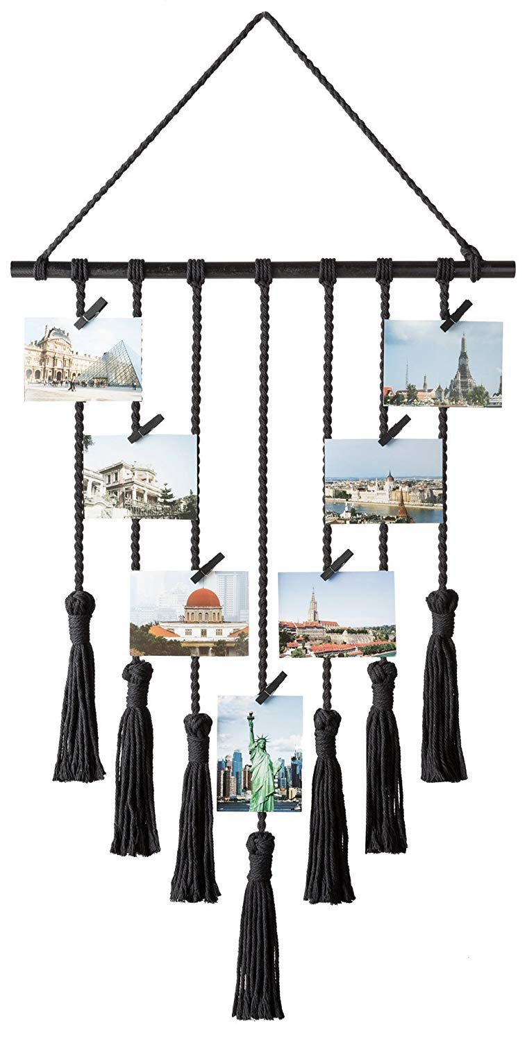 new products Hanging Photo Display Macrame Wall Hanging Pictures Organizer