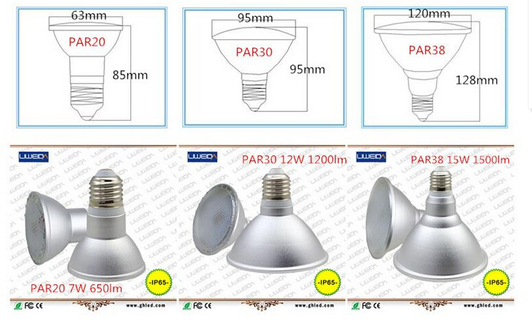 Waterproof IP65 15W LED PAR38 light bulb