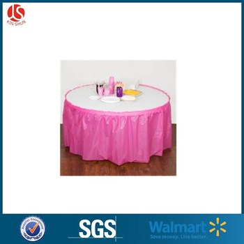 China Factory Decorative Plastic PEVA Ruffled Table Skirt for Sales