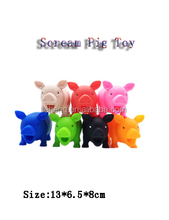 Promotional small sized multicolored soft plastic squeeze scream pig toys for kids