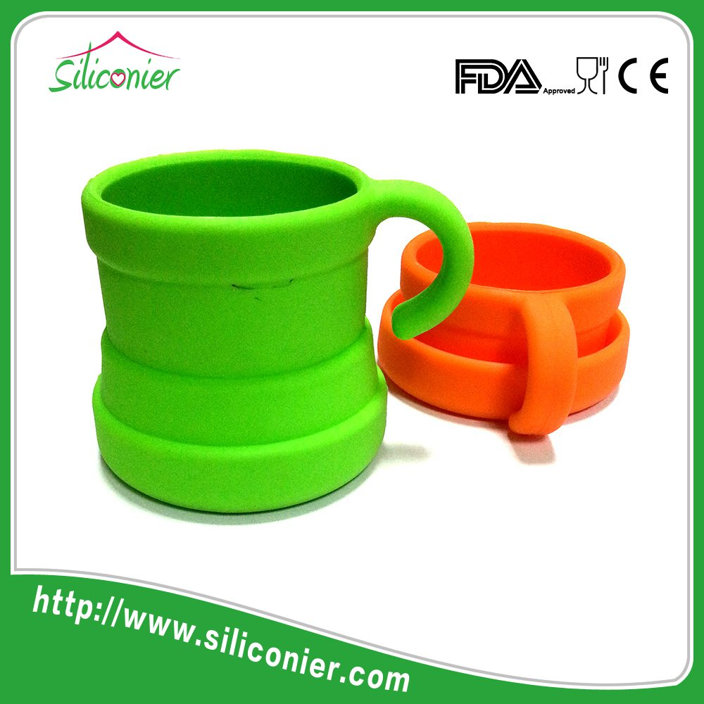 Silicone stackable custom travel coffee mug cover