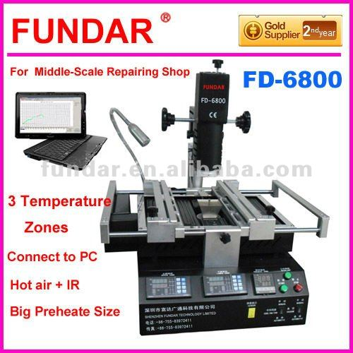 Cheap price FUNDAR FD-6800 intelligent software control 3 temperature zone hot air bga machine upgrade from zm-r380b